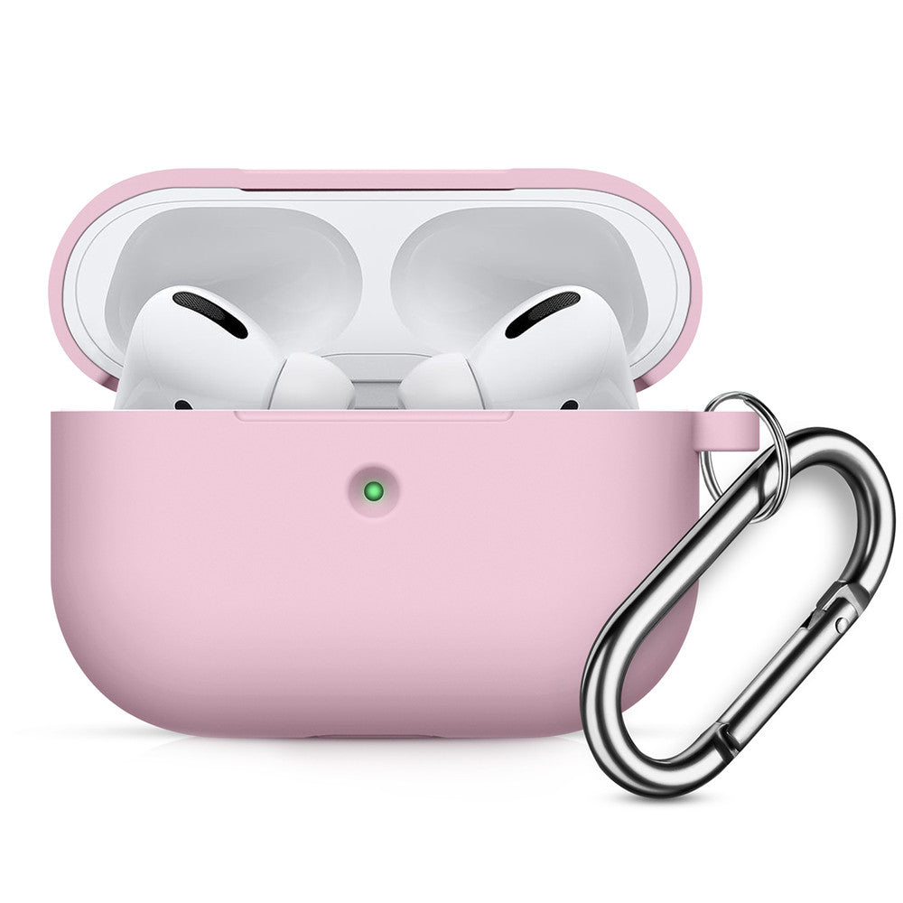 Airpods Pro Case Thickening Silicone Dustproof Protective Cover with Keychain for Girls Pink