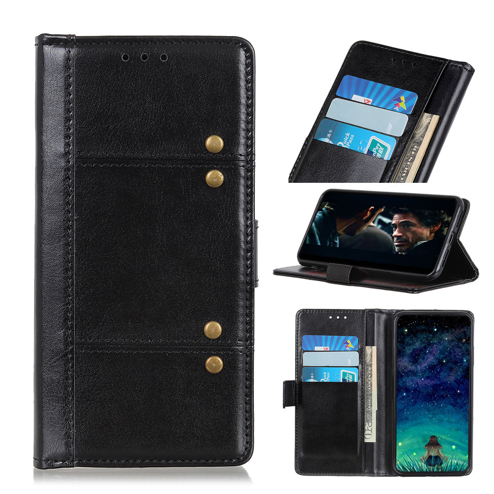 Leather Case for iPhone 11 Wallet Card Holder with Kickstand Creazy Horse Case Cover Black
