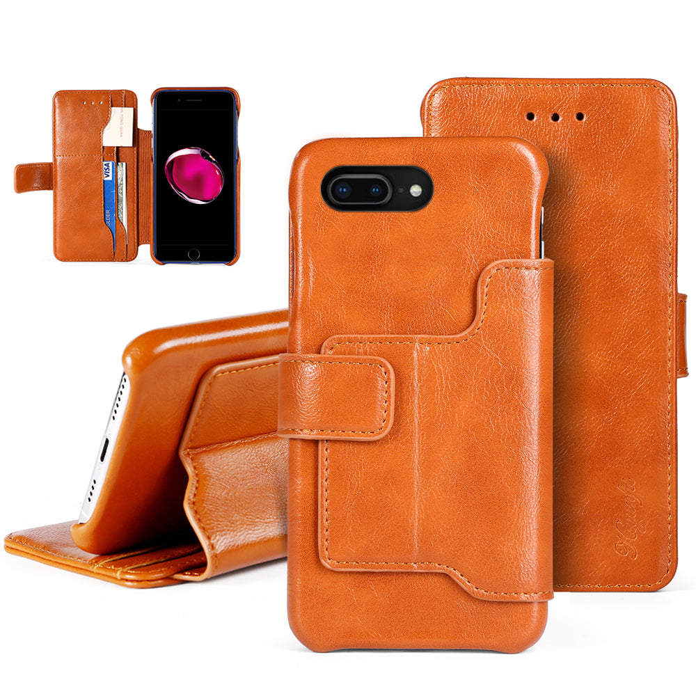 iPhone 7 Plus / 8 Plus Case PU Leather Wallet Case with Card Holder ID Slots Brown