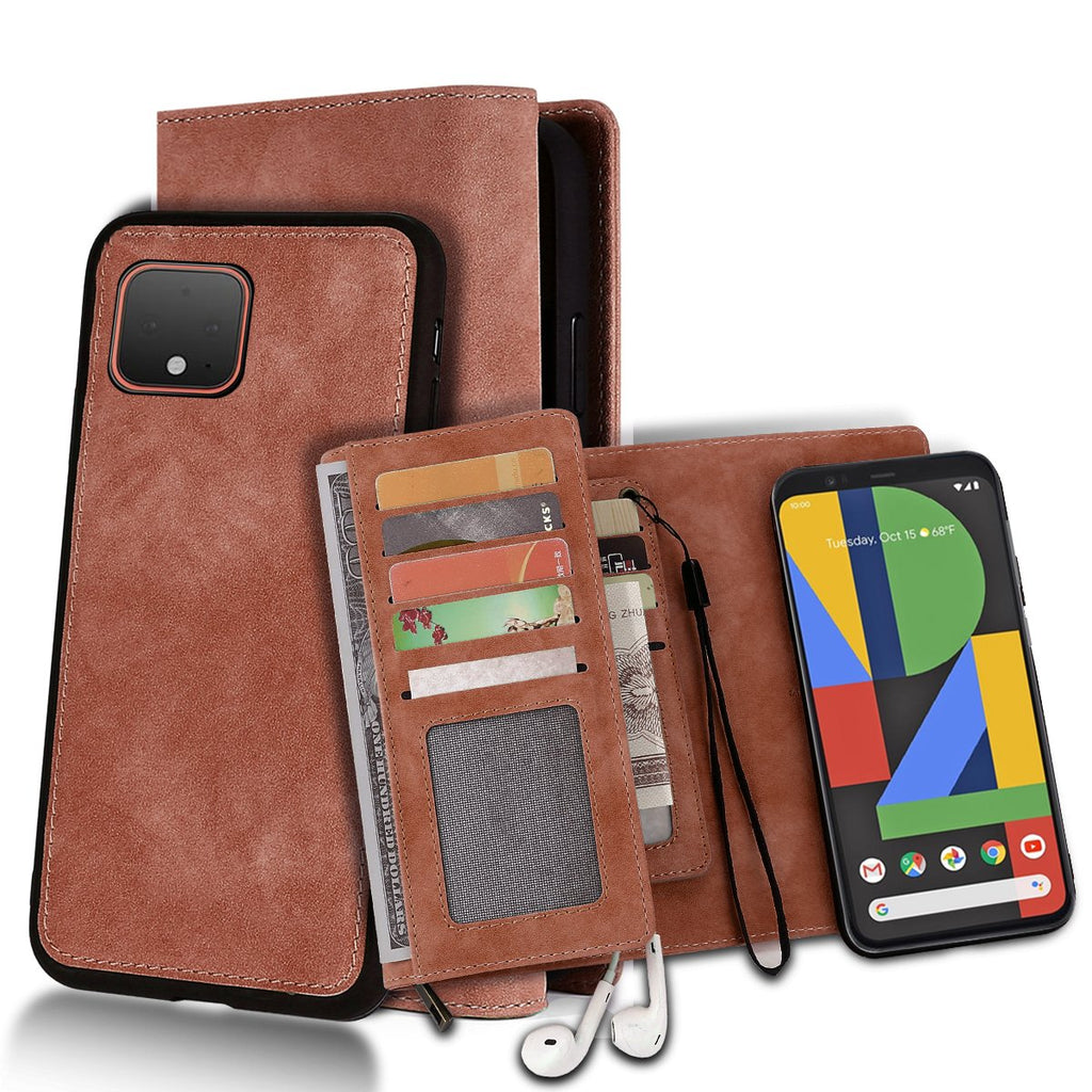 Google Pixel 4 Wallet Case with Card Holder Leather Shockproof Cover with Kickstand Magnetic Clasp Brown