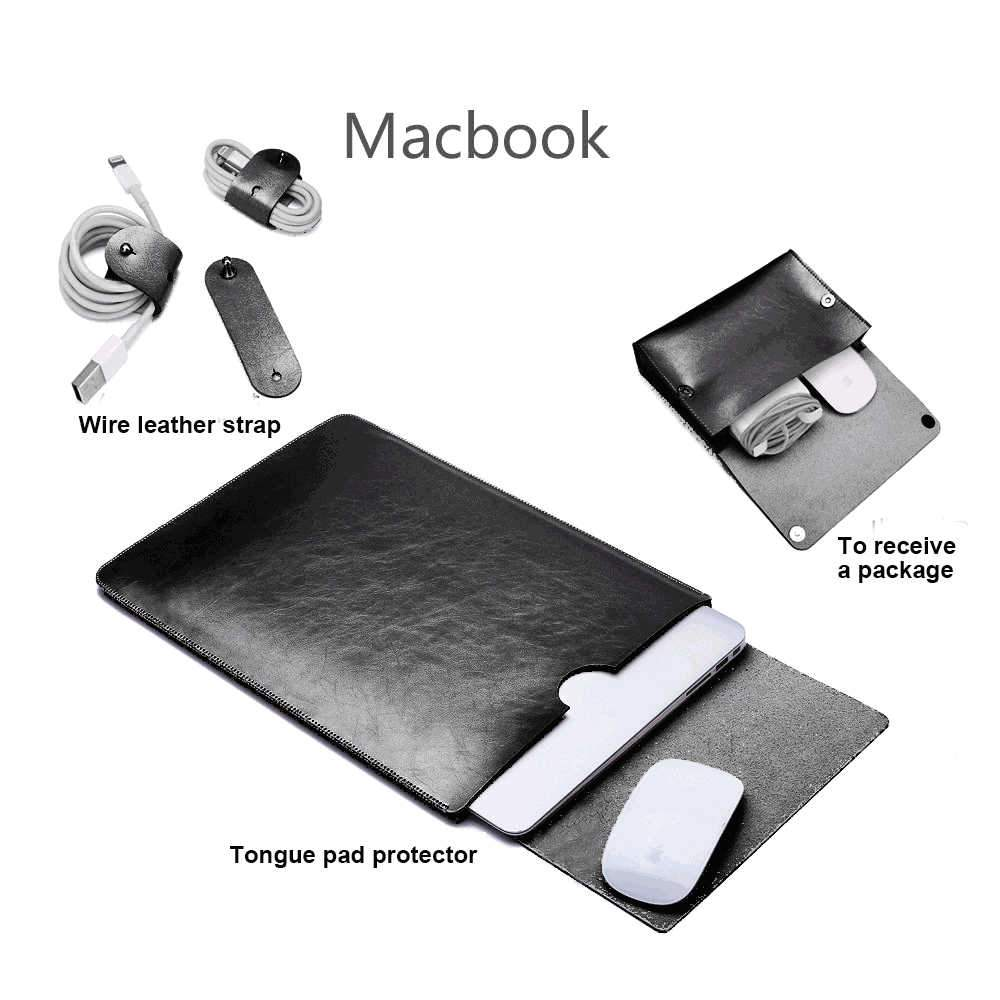 Leather Laptop Sleeve for MacBook Pro 16 Inch Mouse Pad Protective Bag + Storage Bag + Leather Cable Strap Black