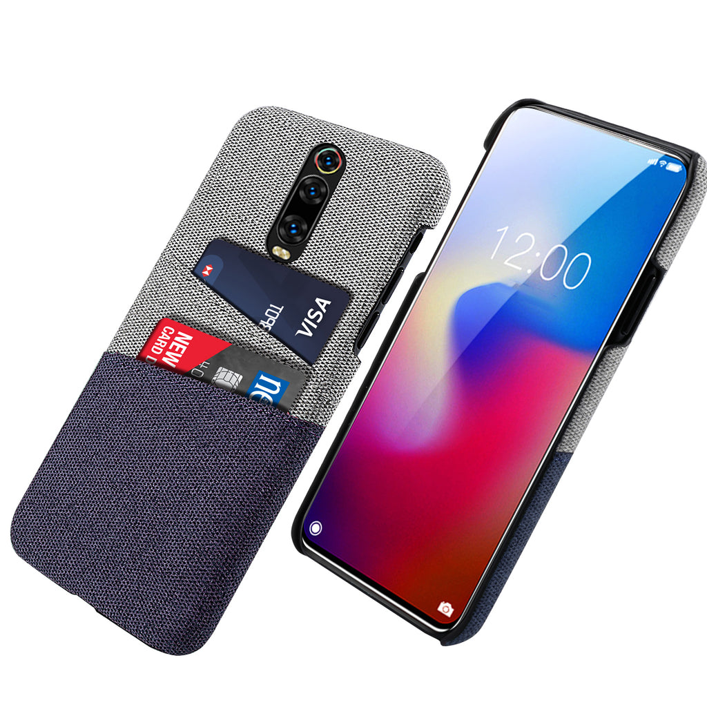 Redmi K20 Pro Case Fabric Cover Wallet with Card Holder Thin Case Blue