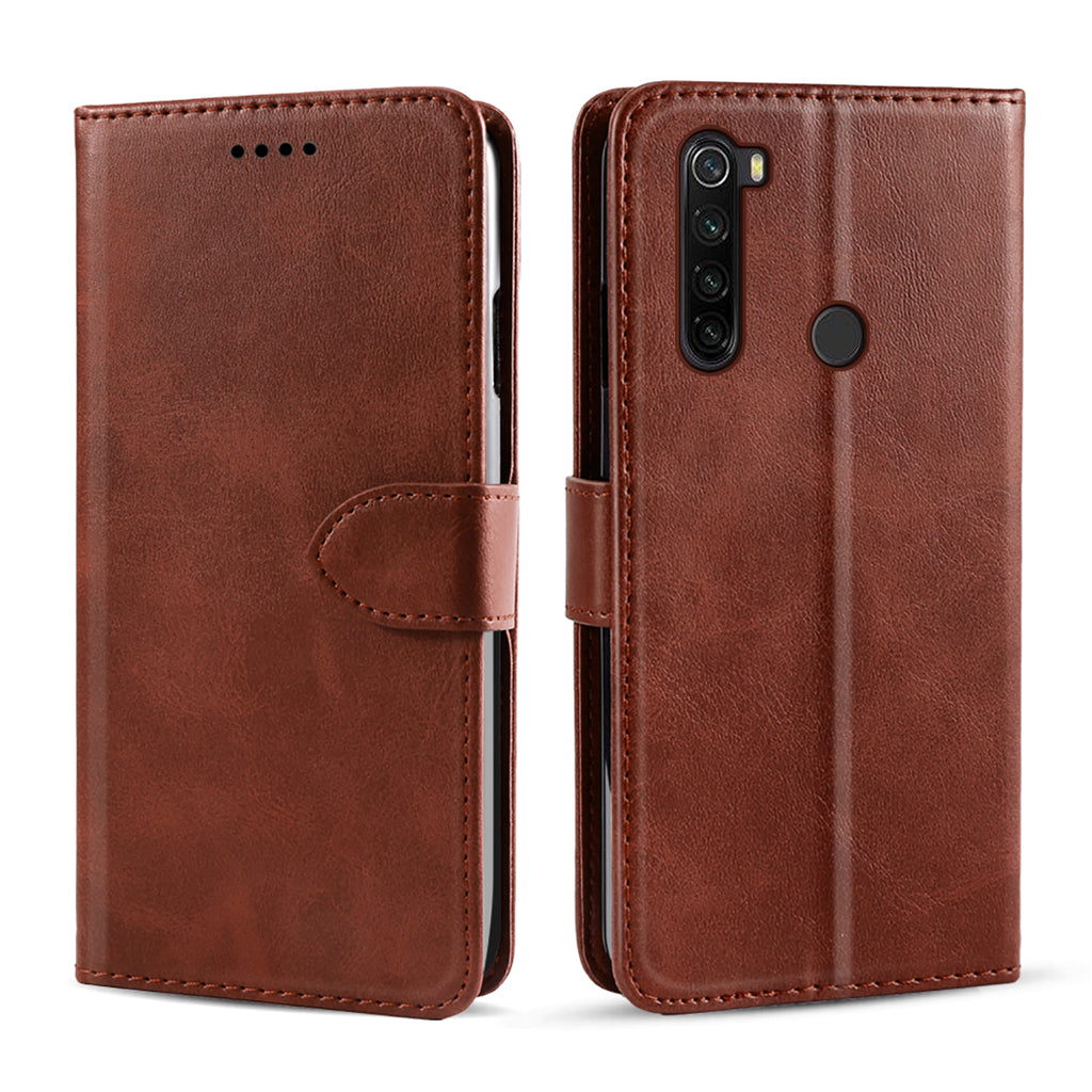 Xiaomi Redmi Note 8T Leather Case Slim Fit Wallet with Card Holder Magnetic Closure Brown