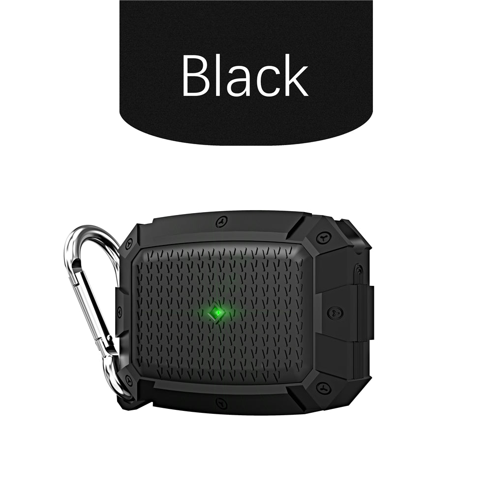 Airpods Pro Case Protective Silicone Cover for Airpods Pro Charging Case LED Light Visible Compatible with Wireless Charging Black
