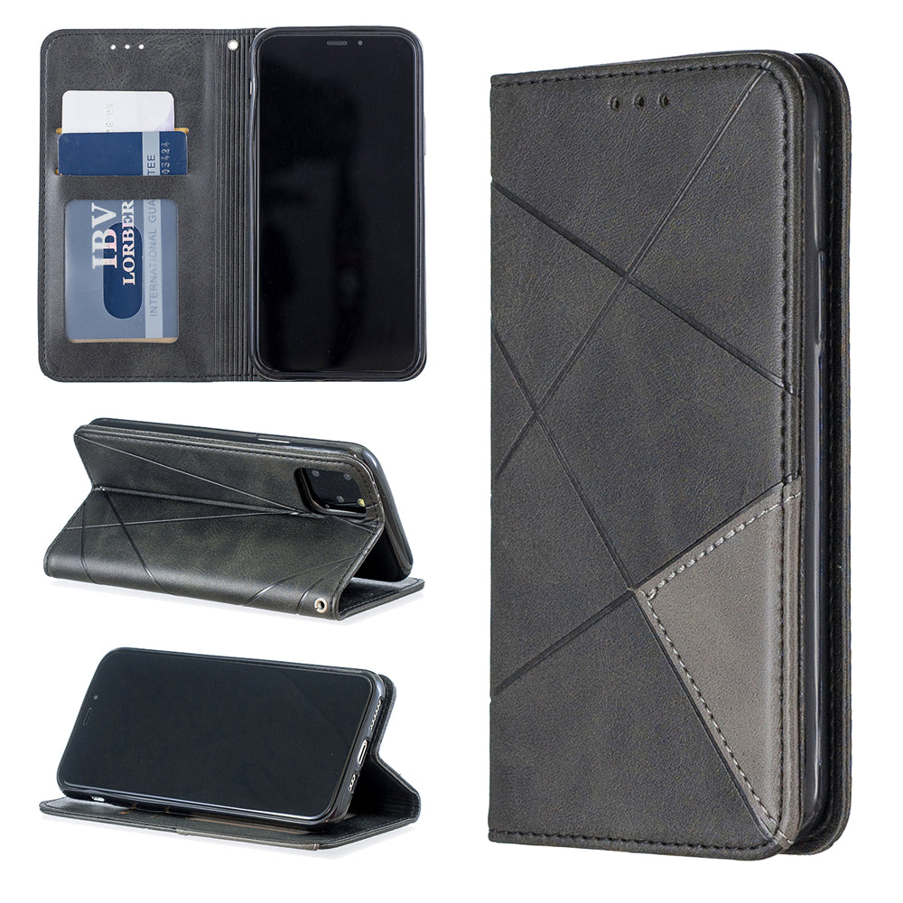 2 in 1 Wallet Case for iPhone 11 Protective Phone Cover Diamond Shape Leather Case Black