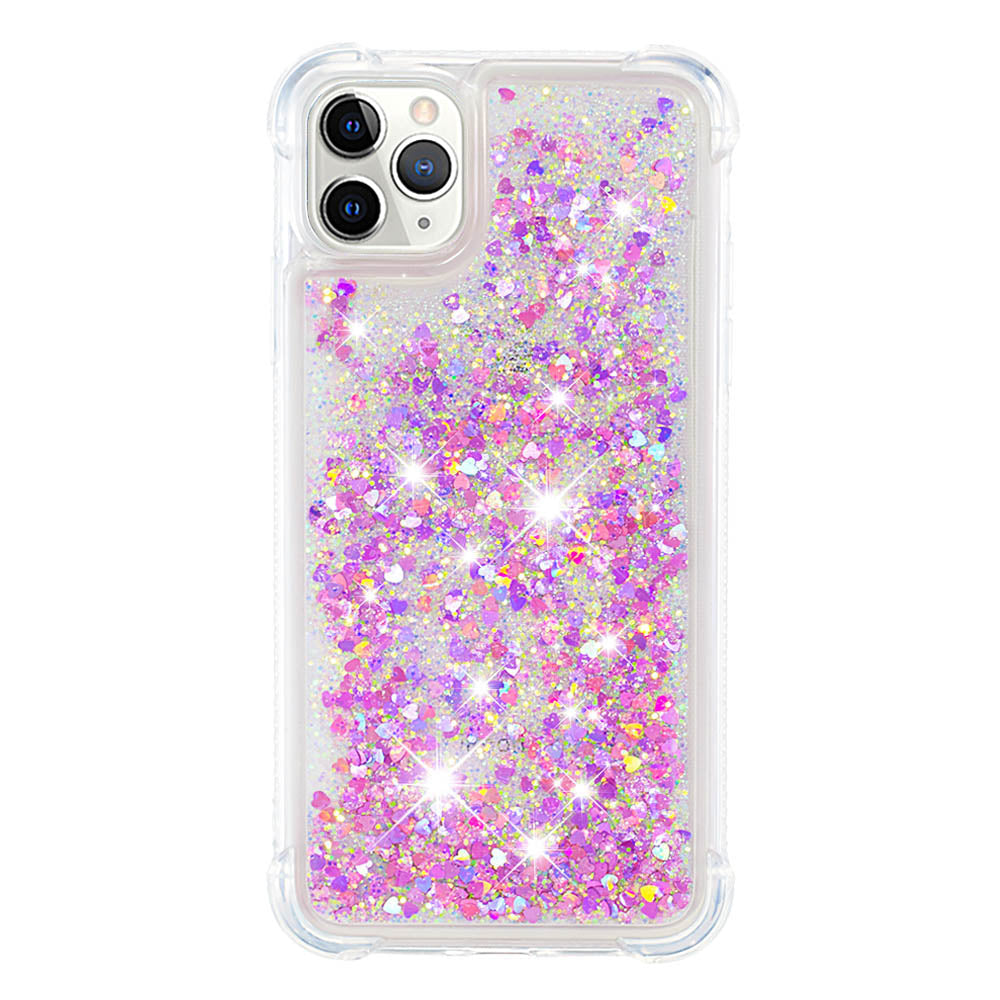 iPhone 11 Pro Case Floating Bling Glitter Kickstand Cover Protective Shell Rosy