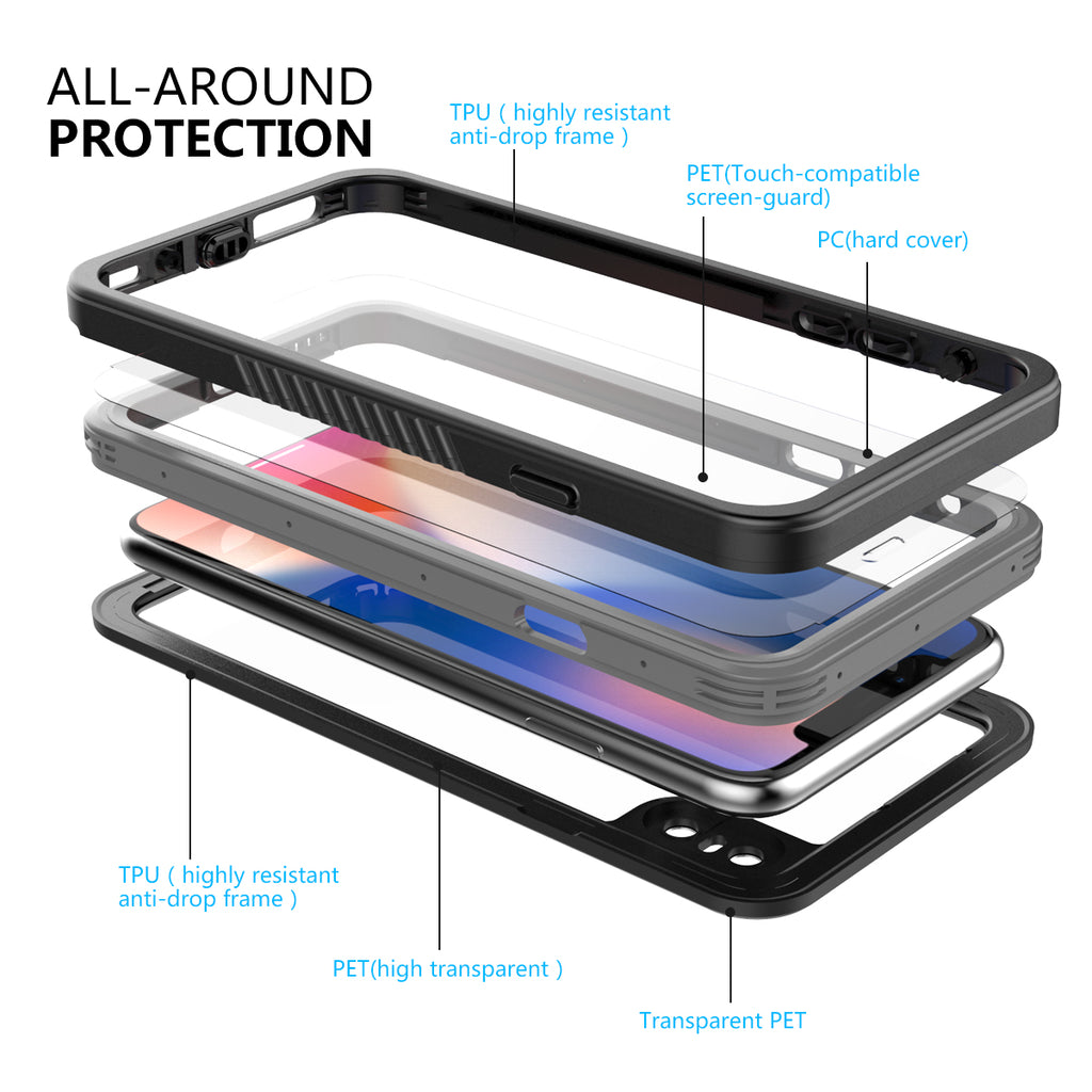 Moonmini iPhone Xs Waterproof Case IP68 with Built-in Screen Protector Case