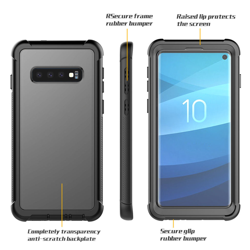 S10 Case Samsung Galaxy Full-Body Rugged Clear Hybrid Bumper Case