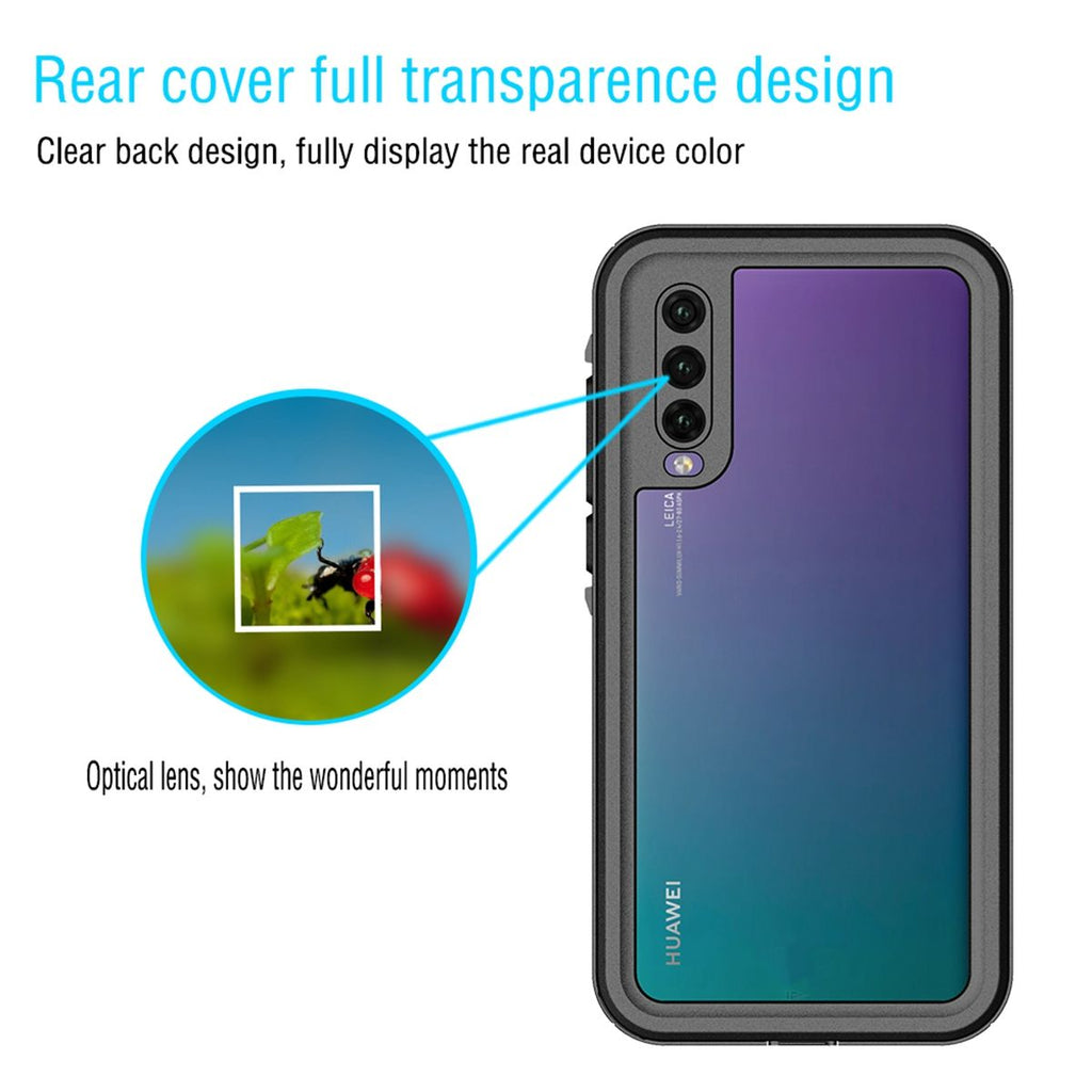 Huawei P20 Waterproof Case Dustproof Cover IP68 Dots Pattern Protective Sleeve Box Black
