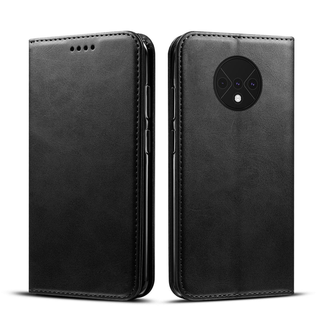 OnePlus 7T Leather Case Card Holster Stand Magnetic Cover Shockproof Flip Wallet Case Black