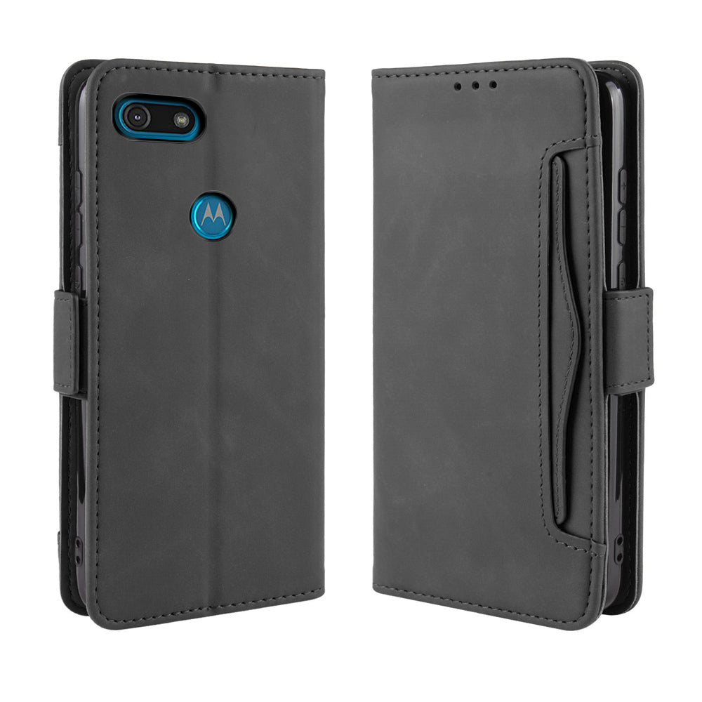 Moto E6 Play Wallet Case Leather Flip Wallet Kickstand Cover with Card Slots Black