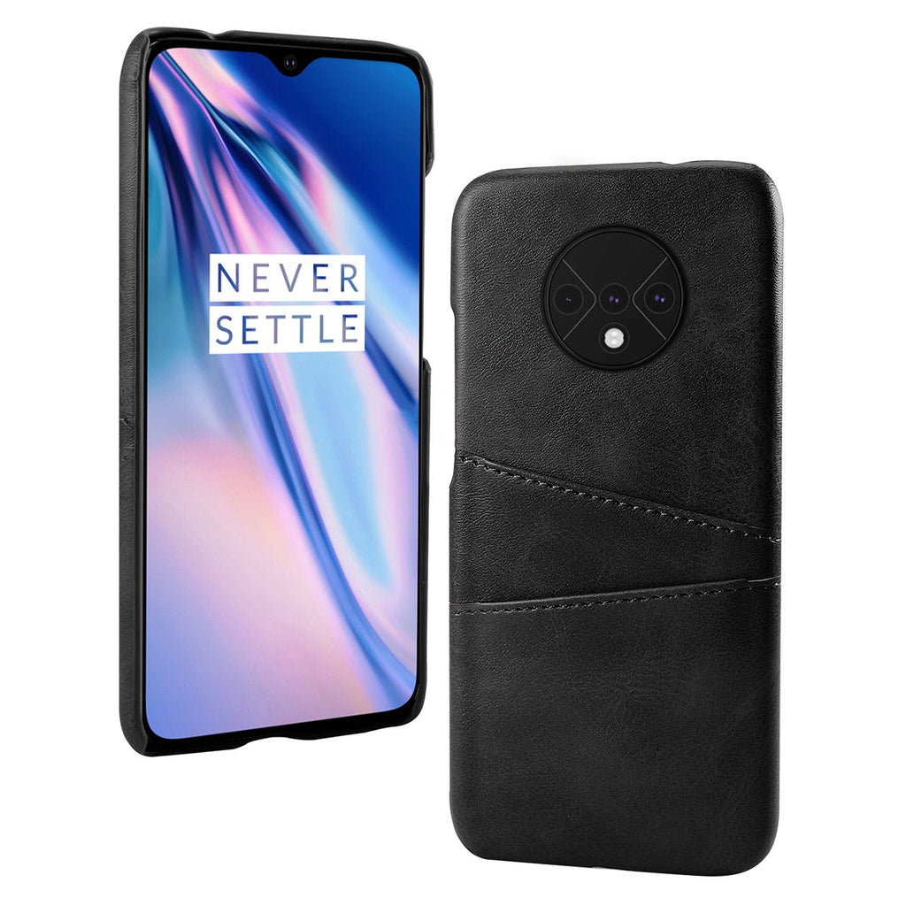 OnePlus 7T Case Calf Grain PU Leather PC Back Case with 2 Card Slots Black