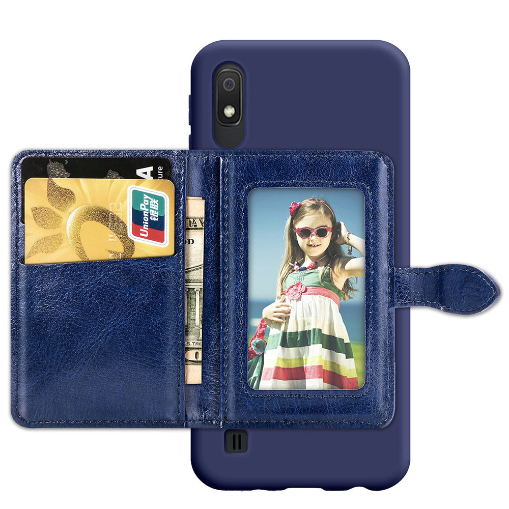Samsung Galaxy A10 Leather Case with Card Slots and Photo Frame Business Wallet Case Blue