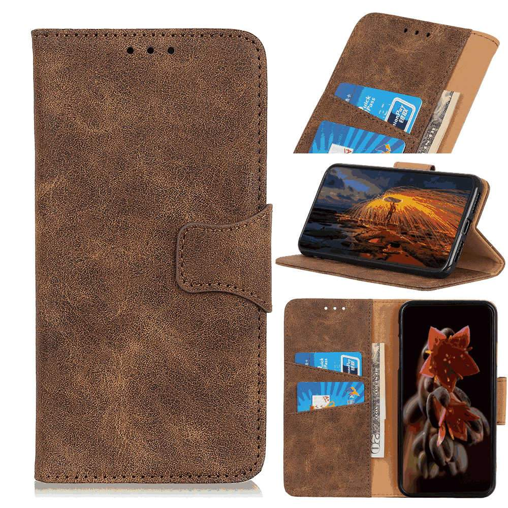 Huawei Honor V30 Wallet Case Flip Folio Leather Cell Phone Cover with Credit Card Holder Brown
