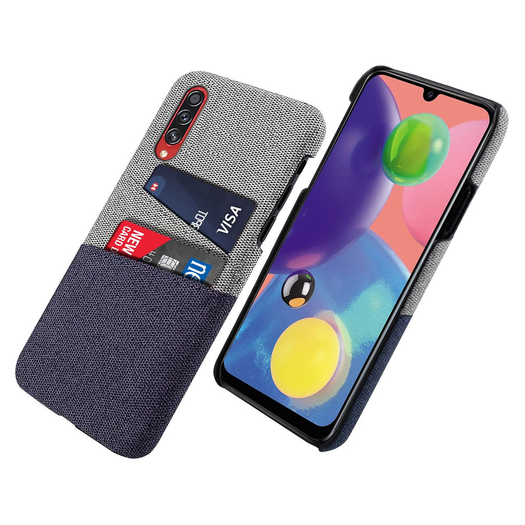 Samsung Galaxy A70s Case with 2 Card Slots Ultra Thin Fabric Case Hard Shell Blue