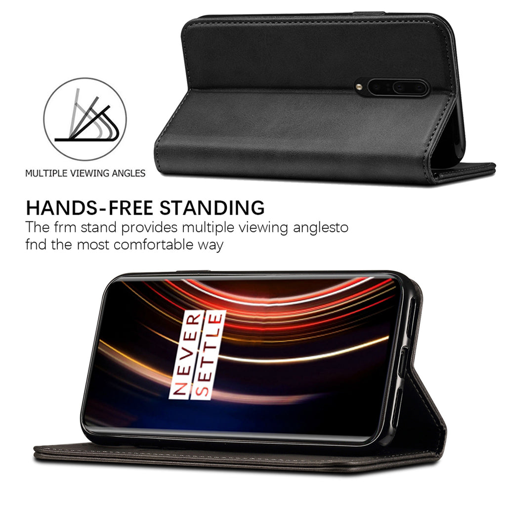 Oneplus 7T Pro Wallet Case Folio Leather Cover with Card Holder Slots Cash Pockets Black