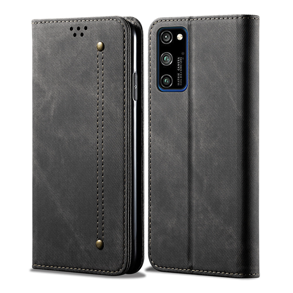 Honor V30 Pro Wallet Case Cowboy Leather Folio Stand Cover with ID&Credit Card Slot