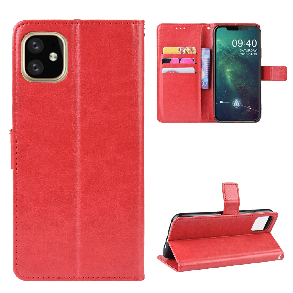 iPhone XIR Leather Wallet Case with Card Holder & Kickstand for Women Red