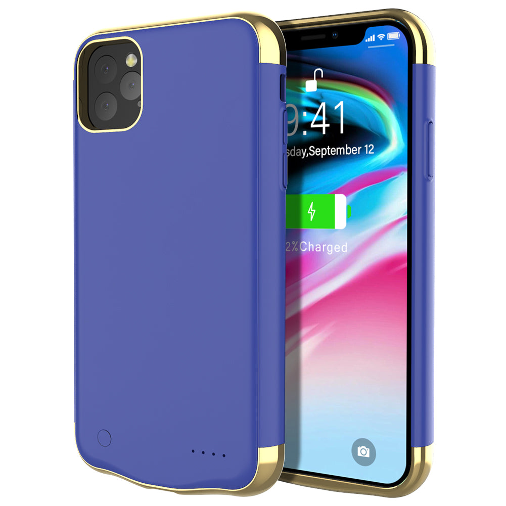 Battery Case for iPhone 11 pro Extended Battery Charger External Backup 5500mah Blue