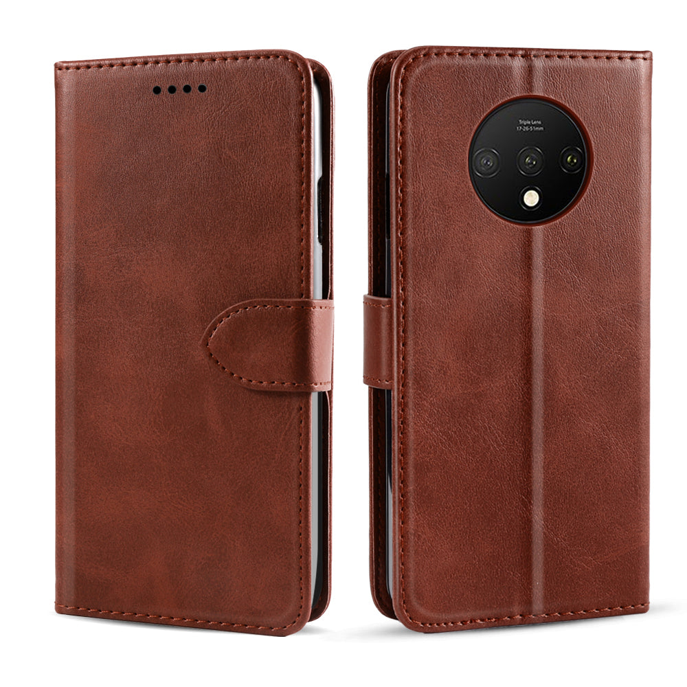 Oneplus 7T Case Flip Leather Wallet Case with Credit Card Slot Kickstand Brown