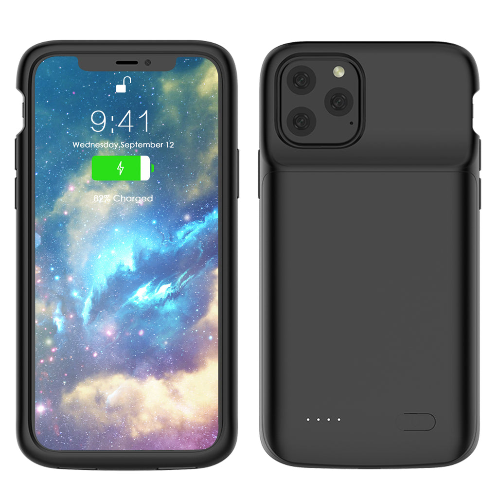 iPhone 11 Pro Battery Case 4800mah Extended Charger Power Bank Protective Thin Case Black