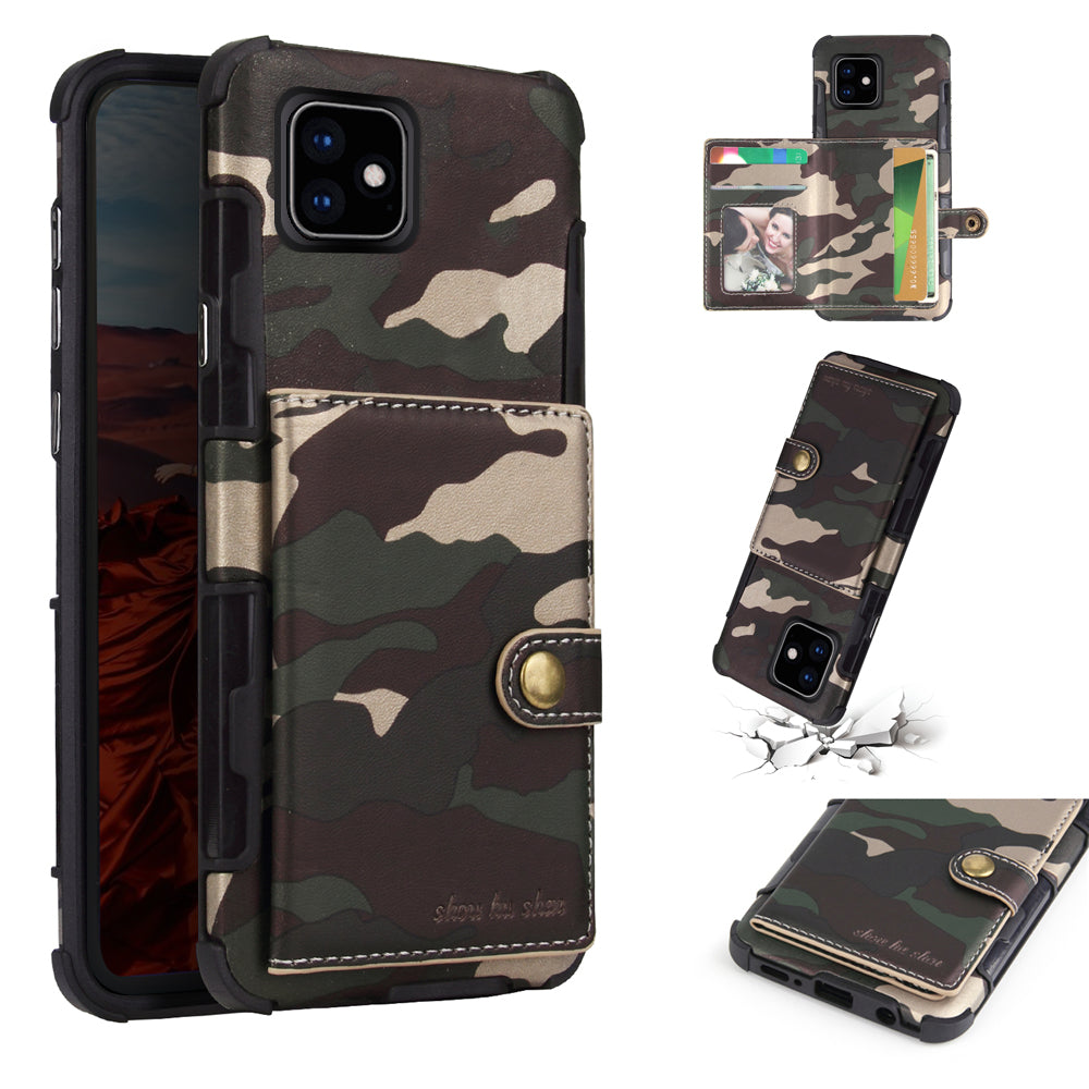 Phone 11 pro Leather Case Camouflage Style Wallet Case with Card Slots and Photo Frame Army Green