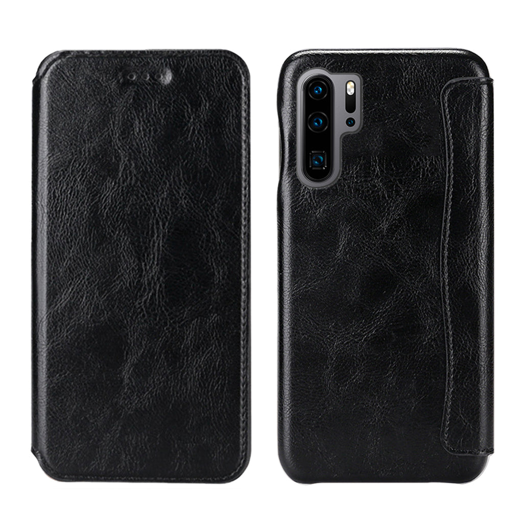 Huawei P30 Pro Case Moonmini PU Leather Wallet with Card Slot Impact Resistant Wallet Black