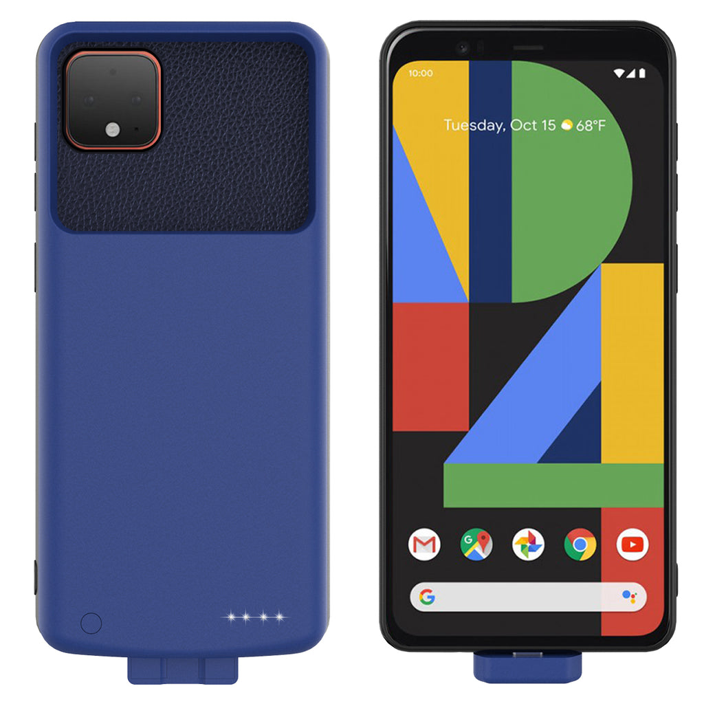 Pixel 4 XL Battery Case Portable Rechargeable Extended Backup Charger 7000mah Blue