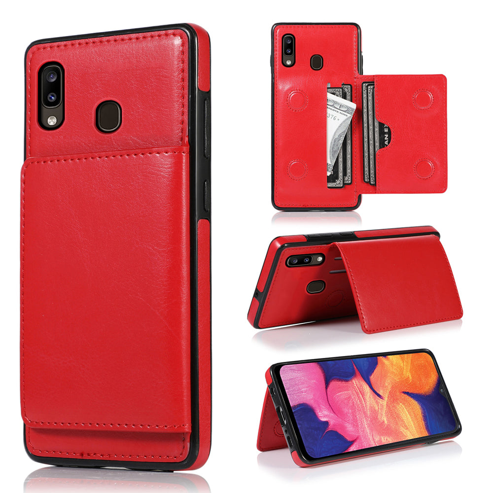 Cardholder Case for iPhone Samsung Galaxy A20 Full-Body Protective Shell Wallet Case Red