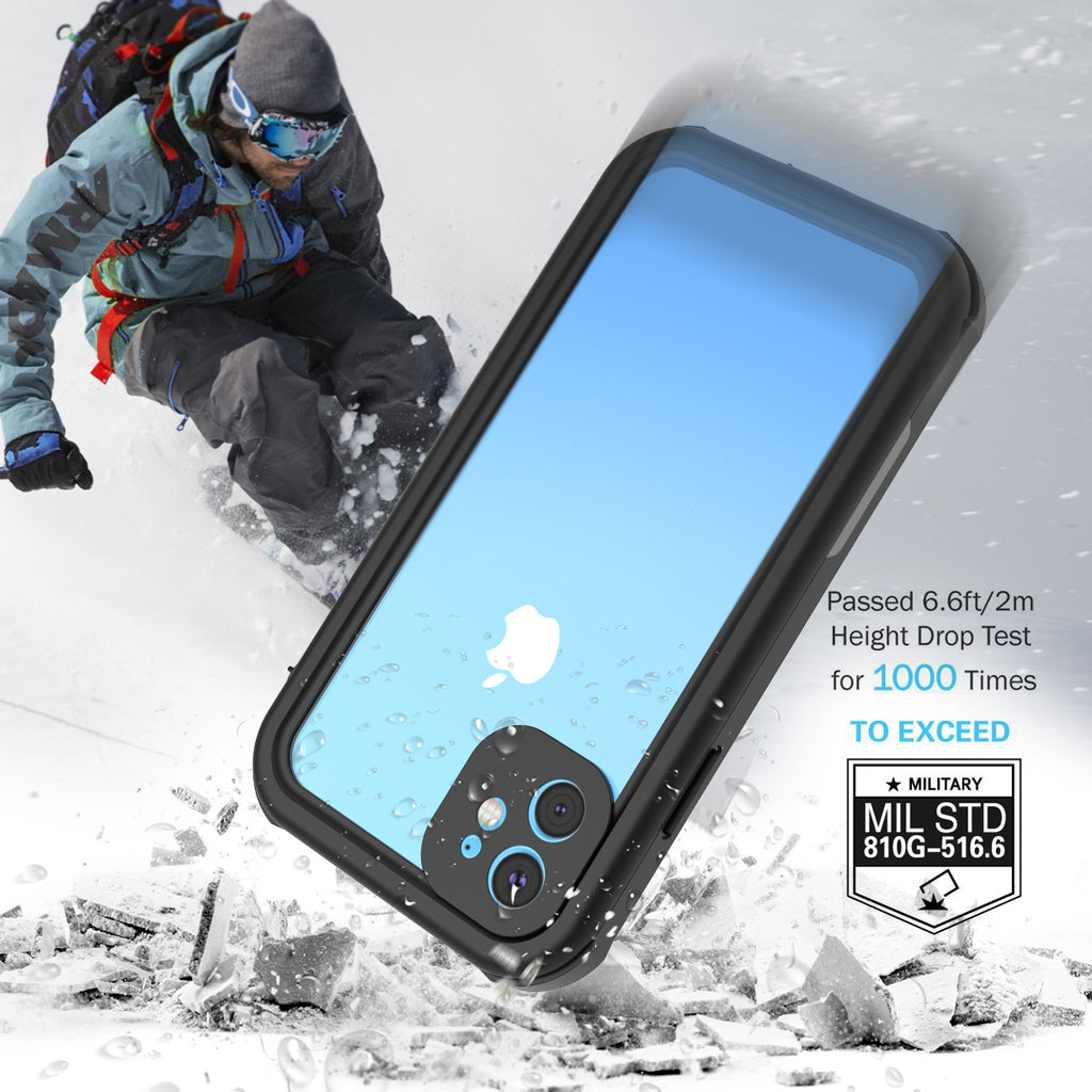 iPhone 11 Waterproof Case Soft TPU Full Wrapped Protective Underwater Outdoor Case Black