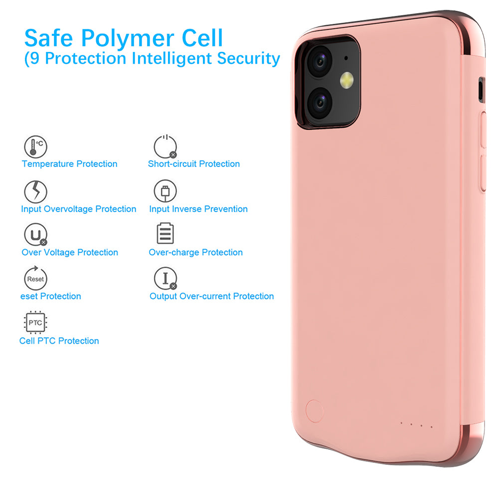 iPhone 11 Battery Case 6000mAh Protable Power Charging Case Extended Charger Rose Gold
