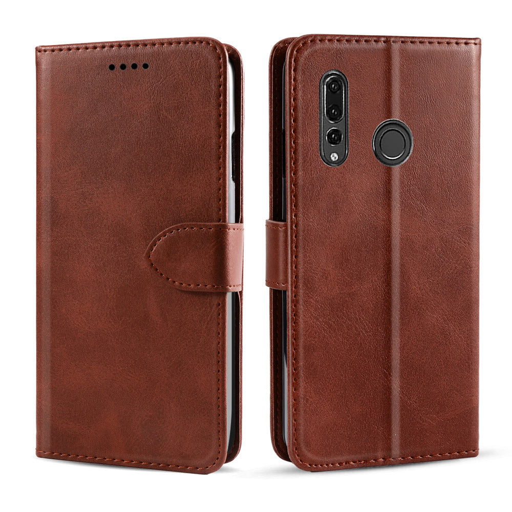 Wallet Case for HUAWEI Y9 PRIME 2019 Leather Case Flip Folio Cover with Kickstand Brown