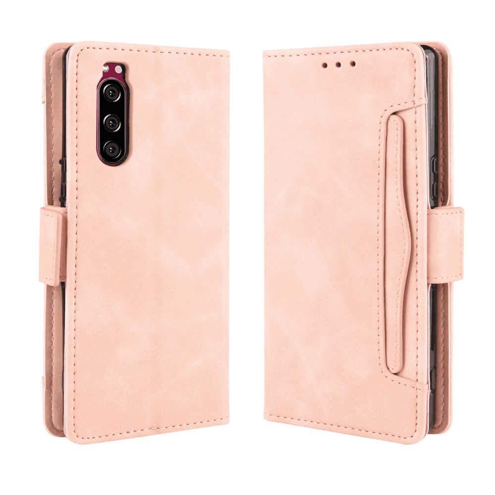 Sony Xperia 5 Leather Case Flip Protective Magnetic Wallet Cover Case with Multiple Card Slots Pink