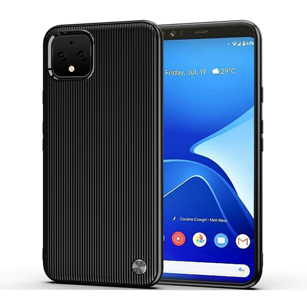 Pixel 4 Case Shock-Absorption TPU Soft Silicone Full-Body Protective Cover Black