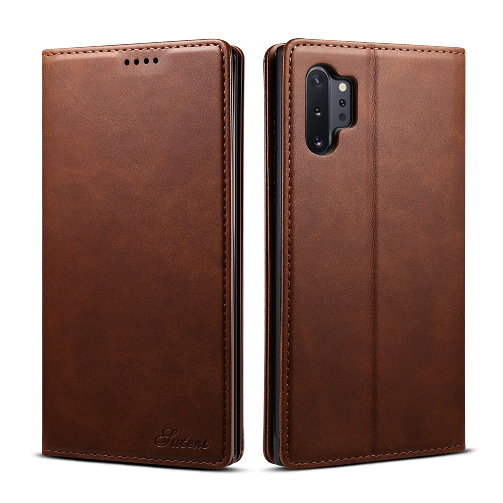 Samsung Note 10 Plus 5G wallet case with credit card slots cash pocket leather cover brown