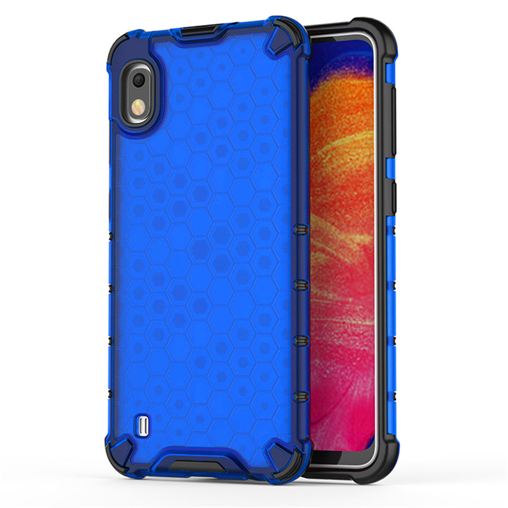 Samsung Galaxy A10 Case Defense Shield Dropproof Dual Layer Honeycomb Protective Case Blue