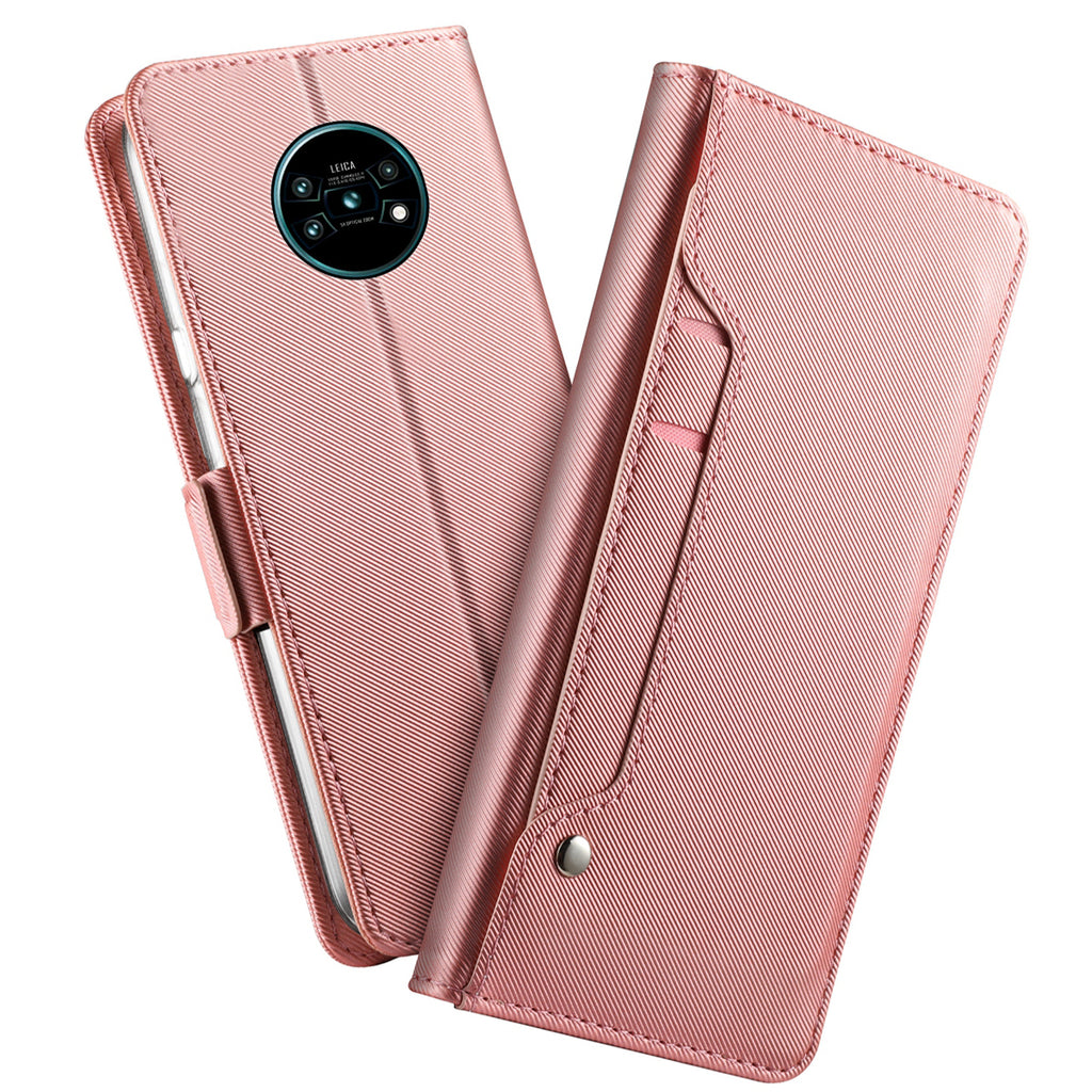 Huawei Mate 30 Pro Wallet Case Shockproof Leather Cover Built-in Mirror for Women Rose Gold
