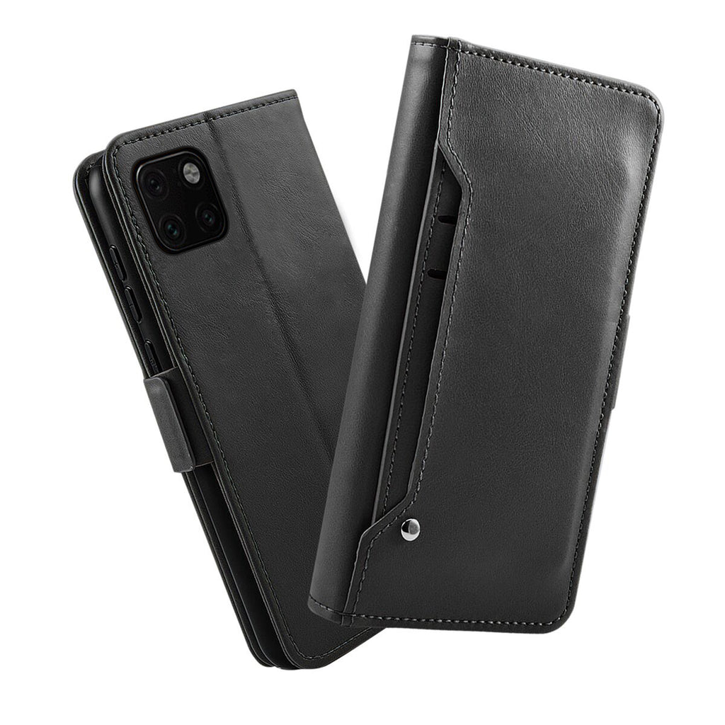 Wallet Case for iPhone 11 Detachable Car Magnetic Leather Cover with Kickstand Black