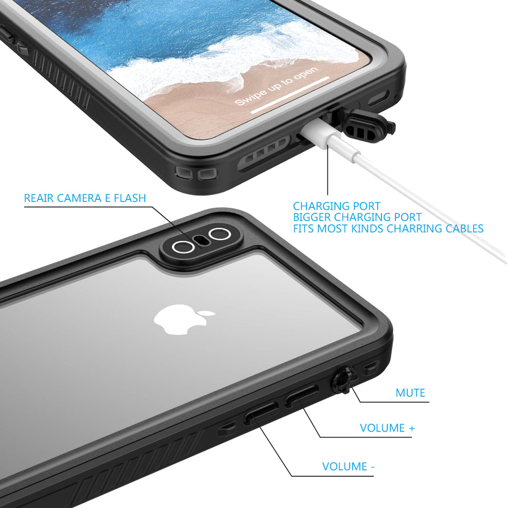 iPhone XS / X Case Waterproof Case IP68 Certified with Buoyancy Lanyard Floating