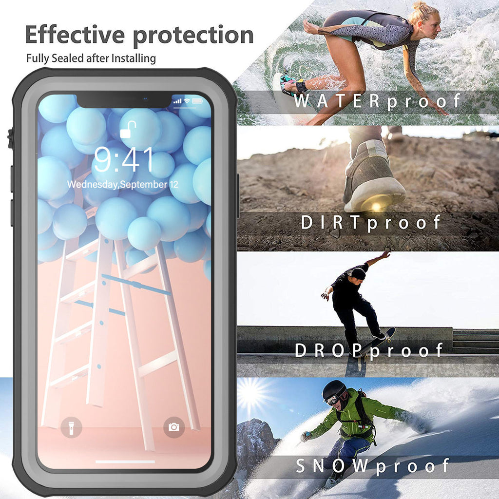 iPhone 11 pro max Waterproof Case Soft TPU Shockproof Full Protection Underwater Case Black