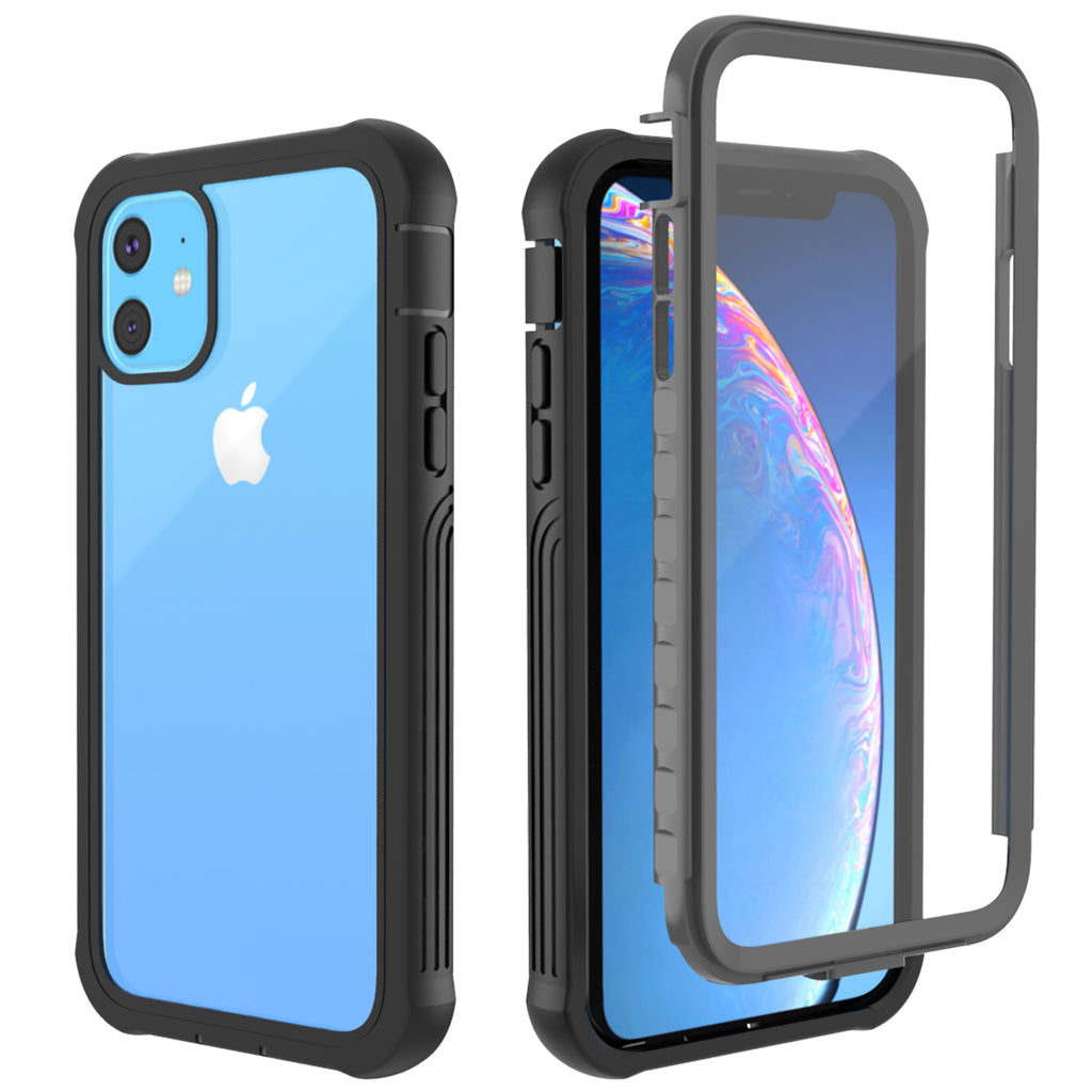 Case for iPhone 11 with Screen Protector Shockproof Cover Black