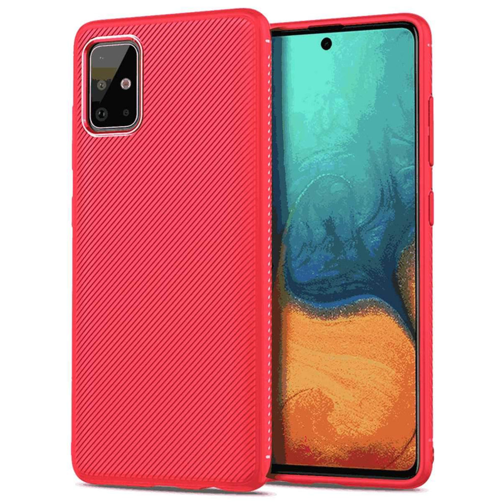 Samsung Galaxy A71 Case 360° Full Body Ultra-Thin Soft TPU Protective Cover Red