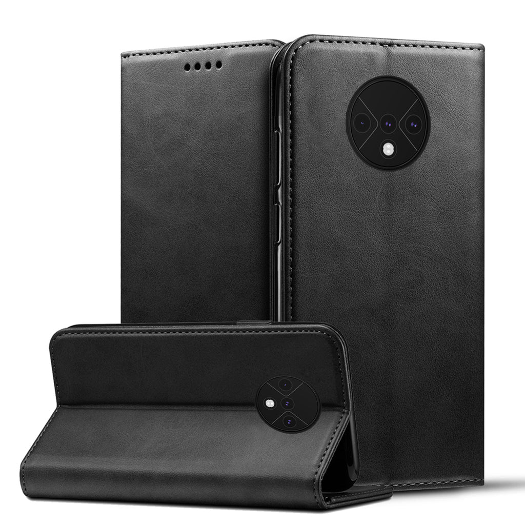 Oneplus 7T Wallet Case with ID Card Holder Kickstand Wallet Leather Cover Black