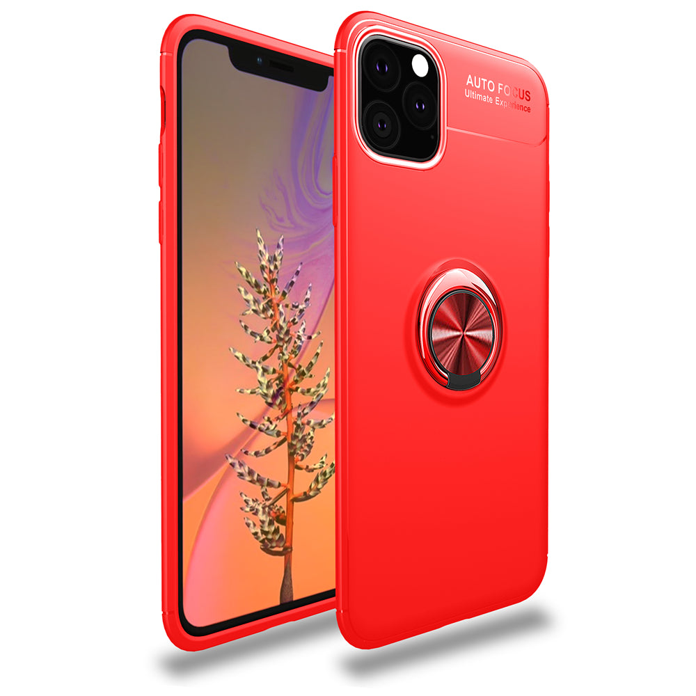 iPhone 11 Case Soft TPU Phone Cover Protector with Finger Ring Bracket Red