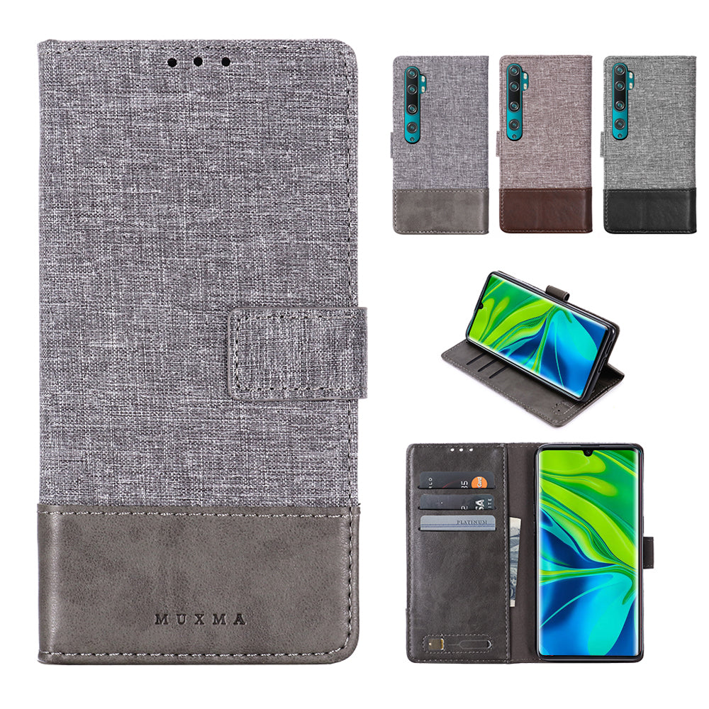 Xiaomi Mi Note 10 Wallet Case Folio Leather Portfolio Credit Card Cover with Kickstand Grey