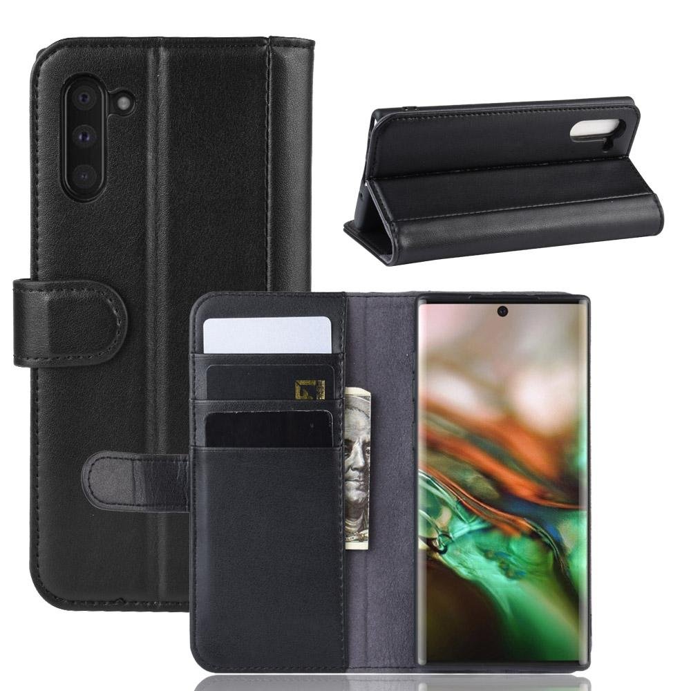 Samsung Galaxy Note 10 Case Genuine Leather Shockproof Wallet Case with Card Holder Black