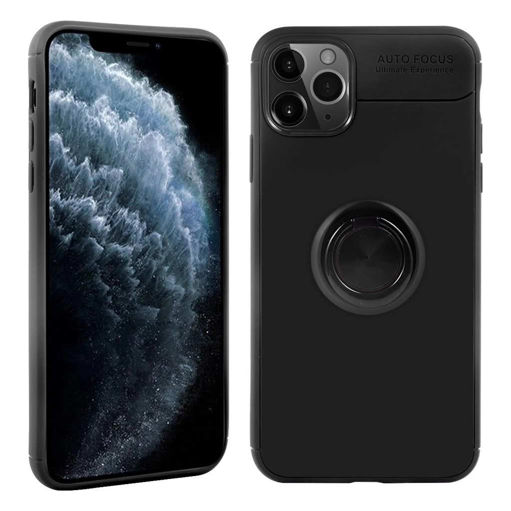 TPU Case for iPhone 11 pro max Shock Absorbent Scratch Resistant Cover with Ring Bracket Black