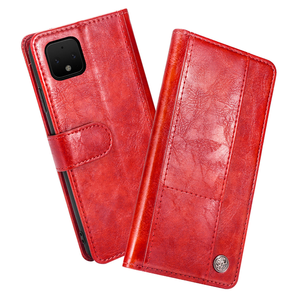 Pixel 4 Leather Case Flip Cover Card Holder Case with Kickstand Red