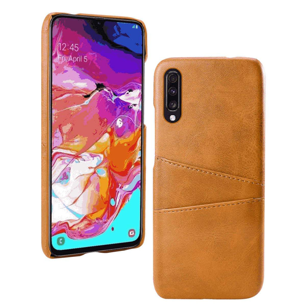 Samsung Galaxy A71 Case Slim PU Leather Back Protective Case Cover With Credit Card Holder Orange