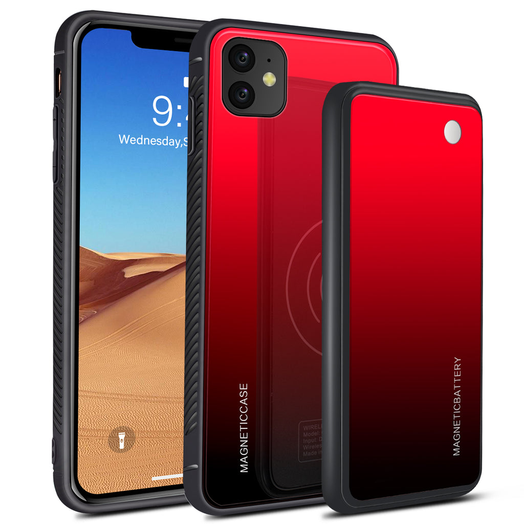iPhone 11 Battery Case 5000mah Power Bank Wireless Charging Battery Pack Red